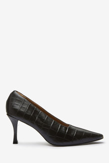 Next Signature Leather Chisel Toe Court Shoes - 265621