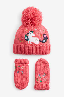 Next Applique Unicorn Beanie And Mitts Set (Younger) - 265673