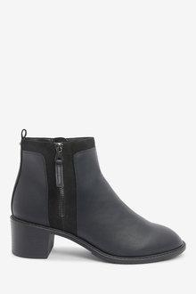 Next Forever Comfort Chunky Heeled Zip Boots-Regular - 265816