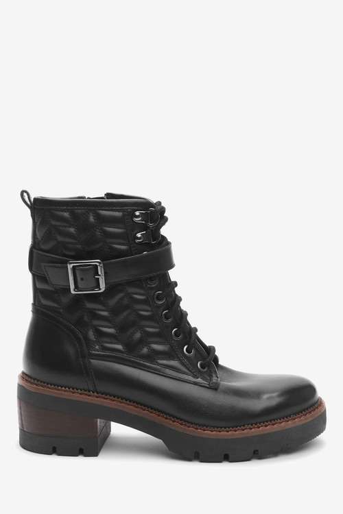 Next Forever Comfort Quilted Lace-Up Heeled Boots