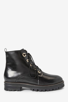 Next Forever Comfort Eyelet Detail Lace-Up Chunky Boots - 265825