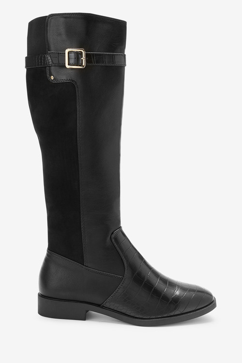Next Forever Comfort Rider Knee High Material Mix Boots