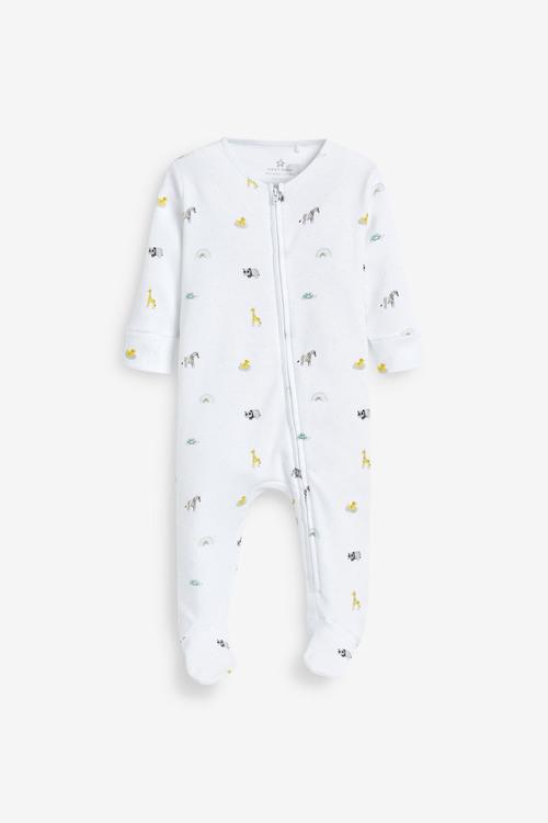 Next 2 Pack Safari Zip Sleepsuit (0mths-2yrs)