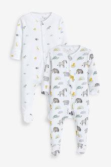 Next 2 Pack Safari Zip Sleepsuit (0mths-2yrs) - 266107