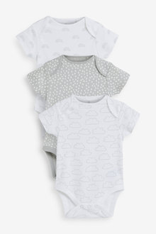 Next 3 Pack RaiNewbornow Supima Cotton Short Sleeve Bodysuits (0mths- - 266114