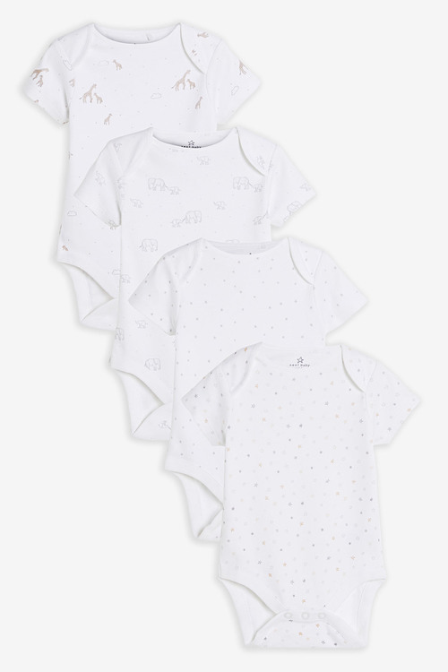 Next 4 Pack GOTS Organic Delicate Multi Print Short Sleeved Bodysuits