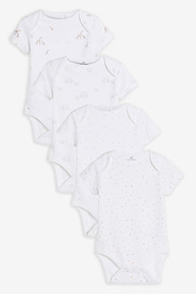Next 4 Pack GOTS Organic Delicate Multi Print Short Sleeved Bodysuits - 266121