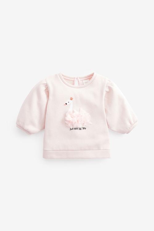 Next Sparkle Swan Puff Sleeve Top (3mths-7yrs)