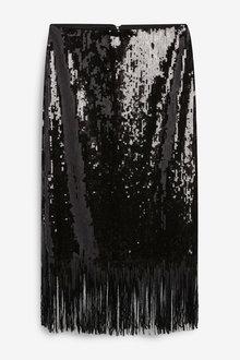 Next Sequin Fringe Skirt - 266157