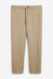 Next Linen Blend Drawstring Trousers - 266196