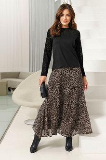 Euro Edit Animal Print Skirt - 266201