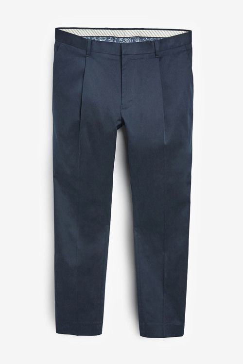 Next Cotton Rich Stretch Pleated Chinos