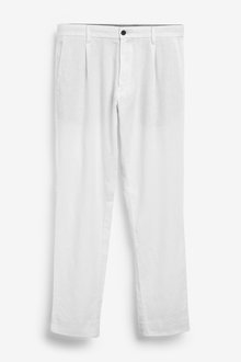 Next Linen Blend Pleated Trousers - 266225
