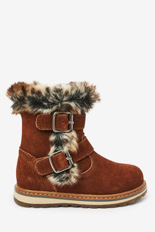 Next Leather Faux Fur Buckle Boots (Younger) - 266227