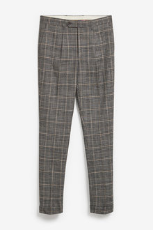 Next Check Pleated Slim Tapered Fit Trousers - 266244