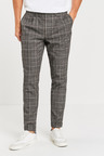 Next Check Pleated Slim Tapered Fit Trousers