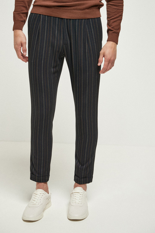 Next Stripe Pleated Slim Tapered Fit Trousers