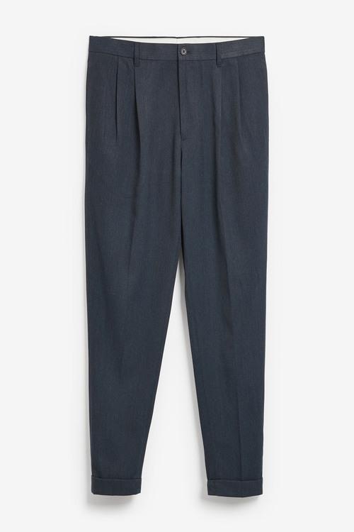 Next Twin Pleat Herringbone Trousers