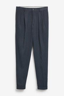 Next Twin Pleat Herringbone Trousers - 266259