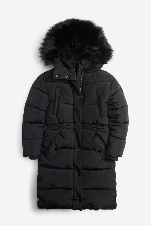 Next Faux Fur Trim Shower Resistant Padded Jacket (3-16yrs)