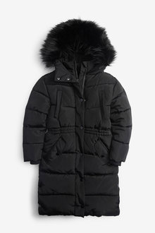 Next Faux Fur Trim Shower Resistant Padded Jacket (3-16yrs) - 266280