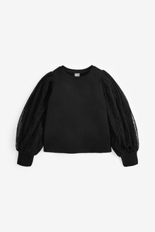 Next Tulle Sleeve Crew Neck Sweatshirt (3-12yrs) - 266317