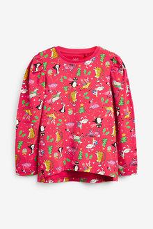 Next Xmas Novelty Printed Long Sleeve T-Shirt (3-16yrs) - 266340