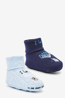 Next 2 Pack Cotton Rich Slogan Booties (0-18mths) - 266415