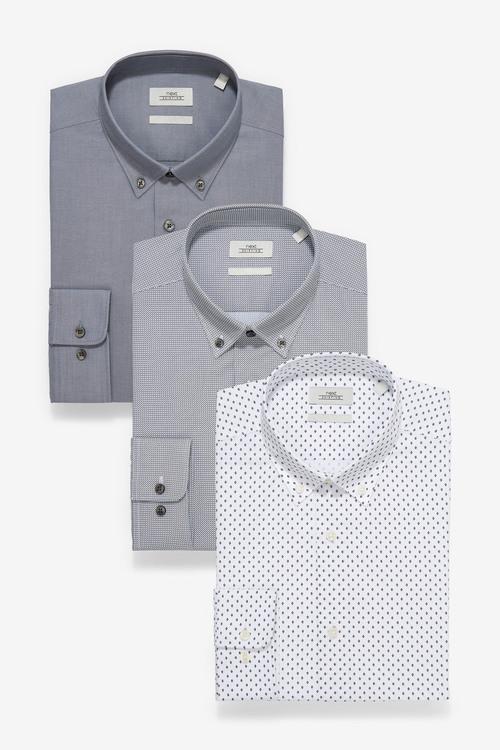 Next Textured And Print Shirts Three Pack-Regular Fit Single Cuff