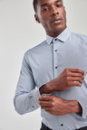 Next Slim Fit Plain And Print Shirts Two Pack