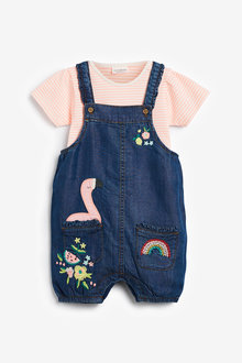 Next Embroidered Dungarees And Bodysuit Set (0mths-2yrs) - 266487