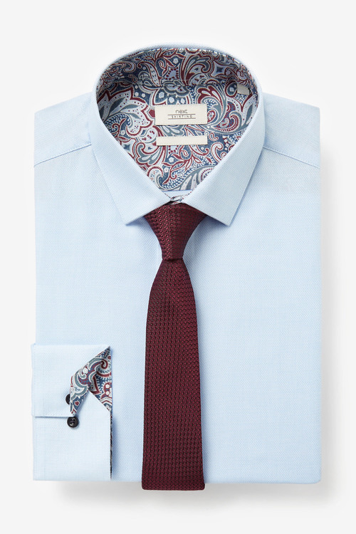 Next Paisley Trimmed Shirt And Tie