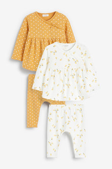 Next 4 Pack Lemon And Spot Print Top And Leggings Set (0mths-2yrs) - 266534