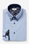 Next Double Collar Contrast Trim Shirt-Regular Fit Single Cuff