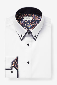 Next Double Collar Contrast Trim Shirt-Regular Fit Single Cuff - 266592