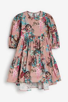 Next Tiered Puff Sleeve Dress (3-16yrs) - 266607
