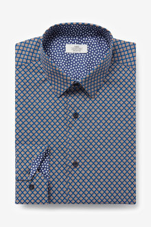 Next Slim Fit Geometric Print Shirt - 266640