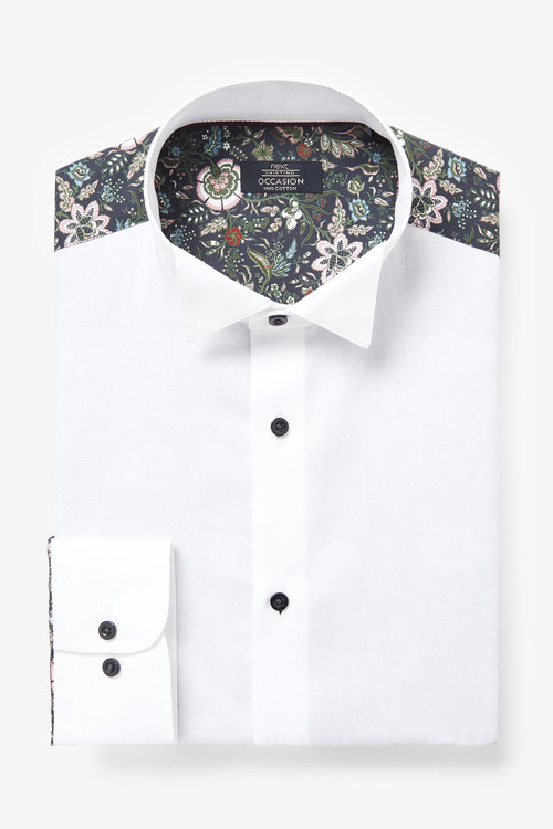 Next Printed Occasion Wing Collar Shirt