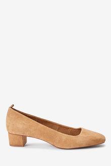 Next Leather Low Block Heels-Regular - 266658
