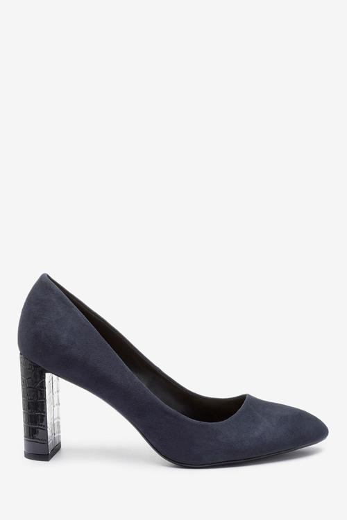 Next Almond Toe Half Moon Heel Court Shoes-Regular