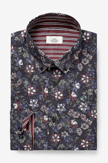 Next Floral Slim Fit Single Cuff With Trim Detail Shirt - 266666