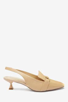 Next Leather Hardware Kitten Heel Slingbacks-Regular - 266673