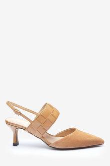 Next Leather Woven Strap Slingback Kitten Heel Shoes-Regular - 266681
