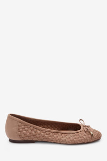 Next Leather Weave Ballerina Shoes - 266709
