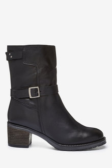 Next Forever Comfort Buckle Borg Lined Heeled Boots - 266719