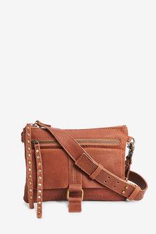 Next Leather Stud Across Body Bag - 266732