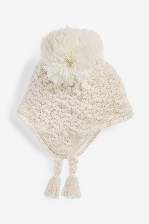 Next Double Pom Cable Trapper Hat (0mths-2yrs)