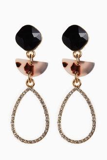 Next Resin Crystal Effect Drop Earrings - 266806