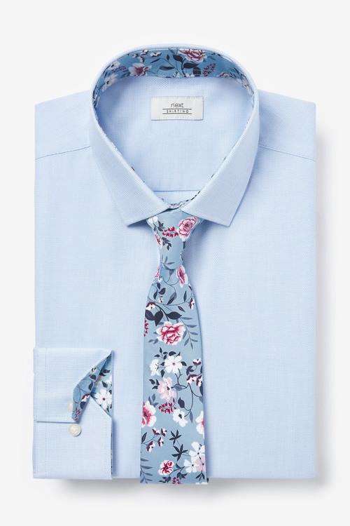 Next Trim Detail Shirt And Printed Tie Set-Regular Fit Single Cuff