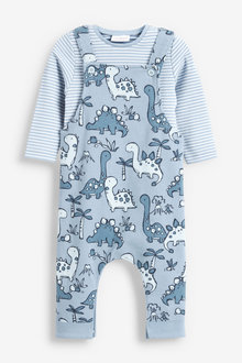 Next Dinosaur Jersey Dungarees And Bodysuit Set (0mths-2yrs) - 266883